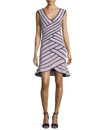 Millie Sleeveless Striped Flounce Dress, Dusty Azalea/Navy