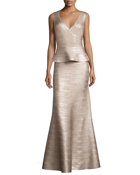 Herve Leger Sleeveless V-Neck Peplum Gown, Rose Gold