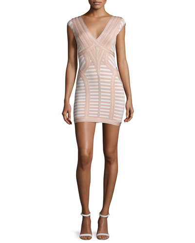 Cap-Sleeve V-Neck Bandage Dress, Alabaster Combo