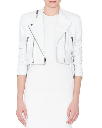 Fin Cropped Leather Multi-Zip Moto Jacket, White