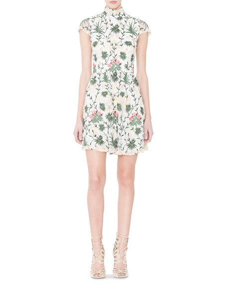 Alice + Olivia Tari Floral Embroidered Open-Back Dress, Multicolor