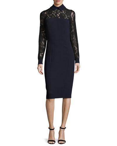 Collared Lace-Trim Crepe Sheath Dress, Navy/Black
