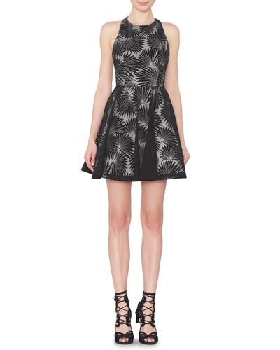 Tevin Racerback Palm Mini Dress, White/Black