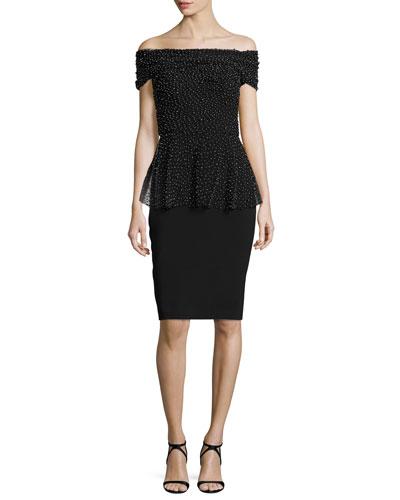 Off-the-Shoulder Beaded Tulle & Crepe Peplum Dress, Black Smoke