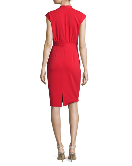 Cap-Sleeve Peplum Cocktail Dress, Cherry Red