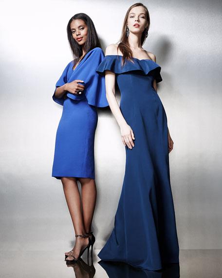 Flutter-Sleeve Crepe Cocktail Dress, Royal Blue