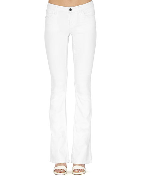 Alice + Olivia Stacey Stretch Boot-Cut Jeans, White