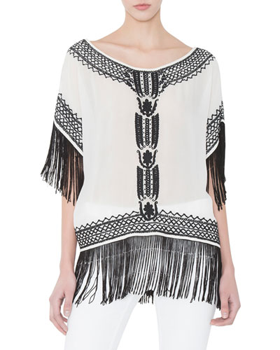 Natalie Boxy Embroidered Silk Top, White/Black