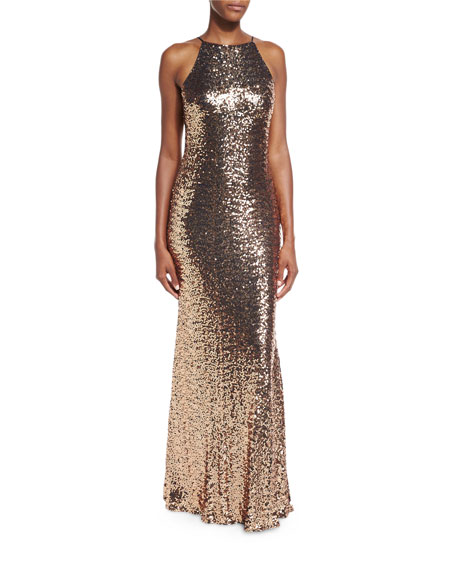 Badgley Mischka Sleeveless Cowl-Back Sequin Column Gown, Copper