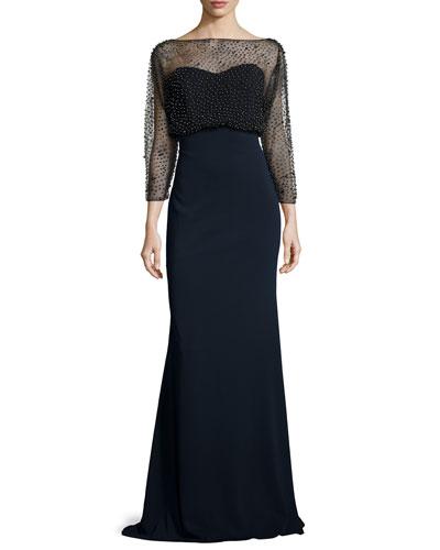 3/4-Sleeve Beaded Blouson Gown, Black/Navy