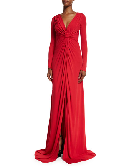 Badgley Mischka Long-Sleeve Twist-Front Jersey Gown, Red