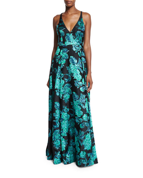 Badgley Mischka Sleeveless V-Neck Beaded Floral Gown, Black/Green