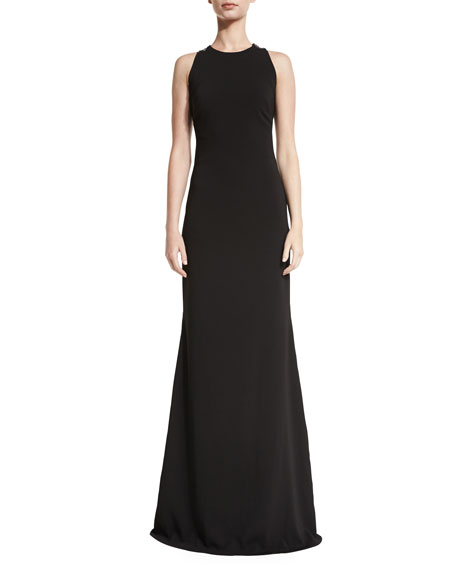 Badgley Mischka Sleeveless Lace-Back Ponte Gown, Black