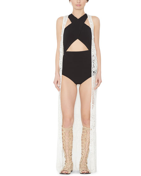 Alice + Olivia Quentin Long Crochet Vest &