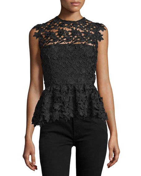 Karina GrimaldiHannah Sleeveless Lace Peplum Top, Black