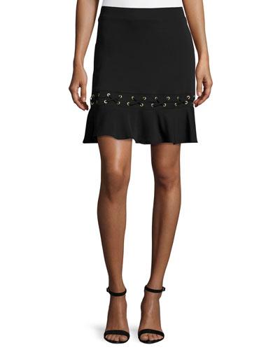 Debir Lace-Detail Skirt, Black