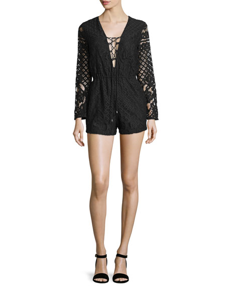Lace-Up Long-Sleeve Romper, Black