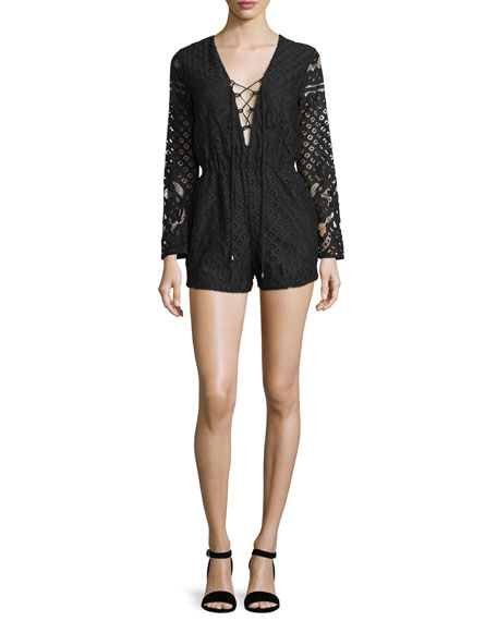 Tularosa Lace-Up Long-Sleeve Romper, Black