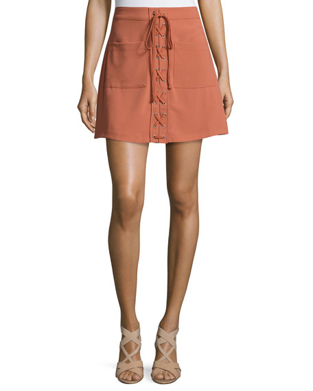 Beachwood Lace-Up Skirt, Faded Rust