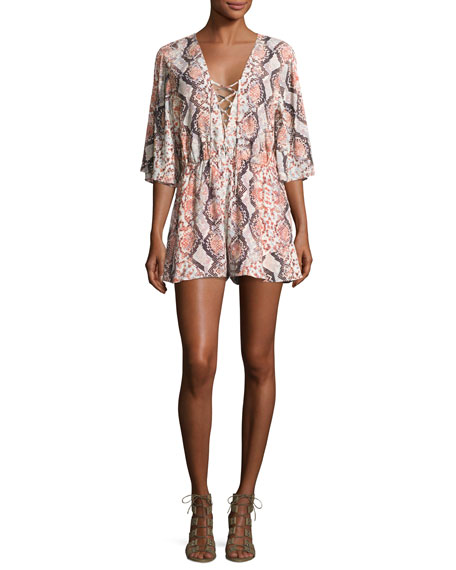 Lovers And Friends Epiphany Lace-Up Romper, Dusty Python