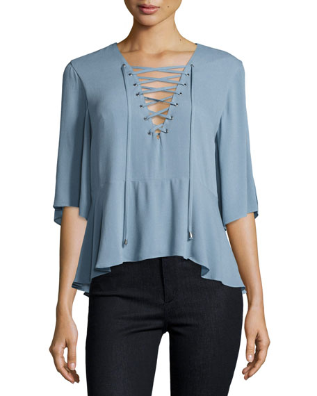 Lovers And Friends Boulevard Lace-Up Top, Dusty Blue