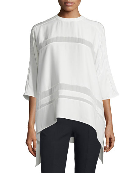 Public School Olea Sheer-Inset Silk Top, Off White