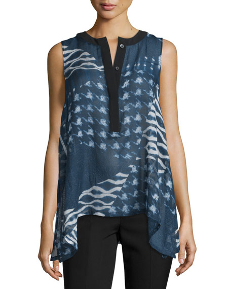 Public School Cyra Printed Silk-Blend Top, Navy