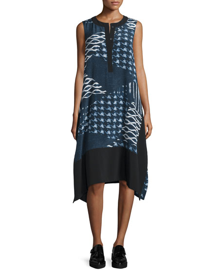 Public School Cyra Printed Silk-Blend Shift Dress, Navy