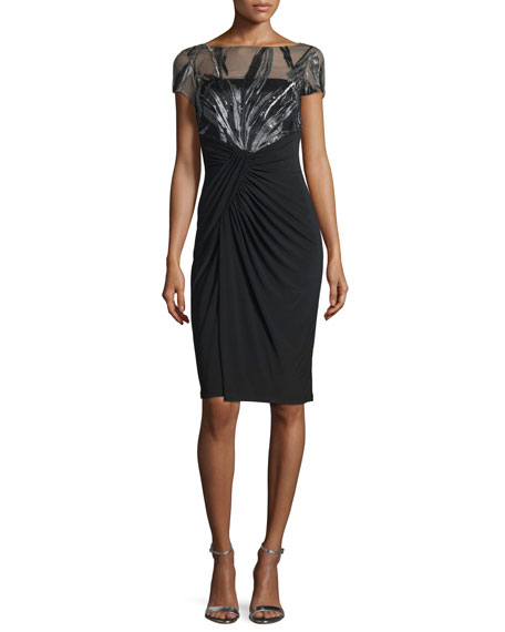 David Meister Short-Sleeve Illusion-Bodice Cocktail Dress