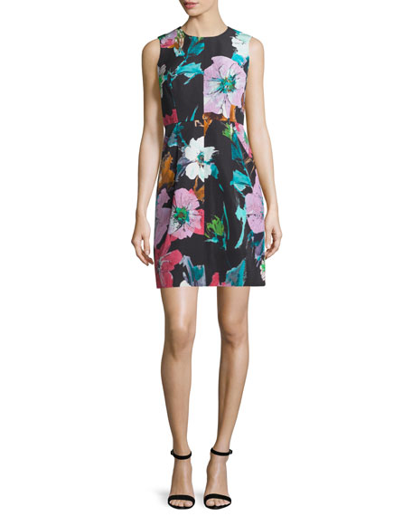 Milly Coco Paper Floral-Print Dress, Black