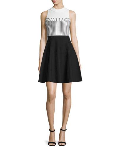 Mock-Neck Colorblock Fit-&-Flare Dress, White/Black