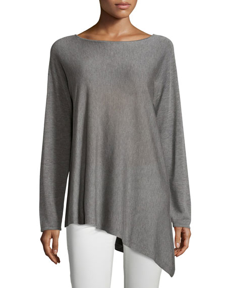 Eileen Fisher Merino-Knit Ballet-Neck Top, Pewter, Petite