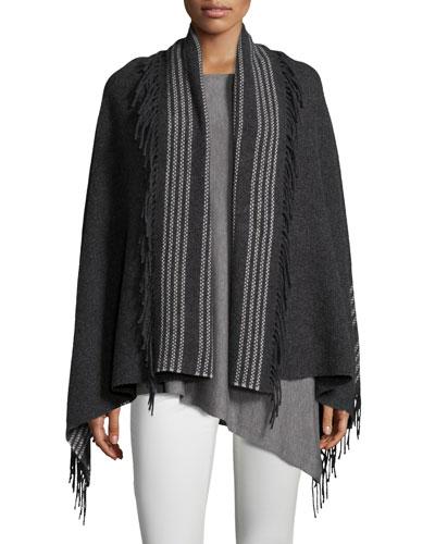 Trattino Wool-Blend Wrap, Charcoal, Plus Size