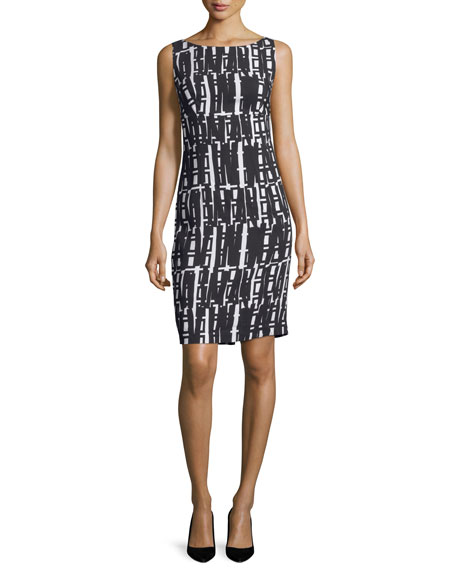 Milly Linear Geometric-Print Sheath Dress, White