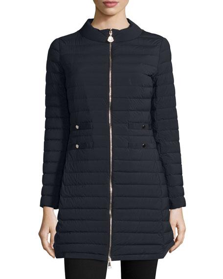 Moncler Aubritch Lightweight Quilted Long Puffer Coat