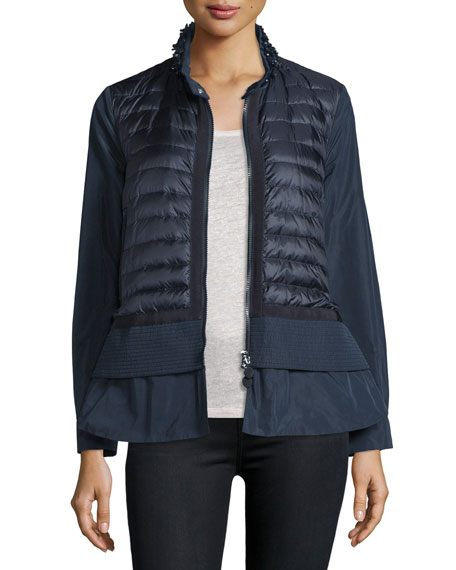Moncler Cyclamen Peplum Quilted-Front Jacket