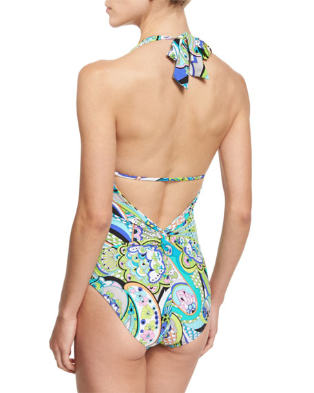 Nomad Paisley-Print Halter One-Piece Swimsuit