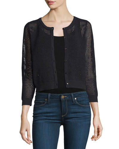 3/4-Sleeve Button-Front Mesh Cardigan, Black Cheap