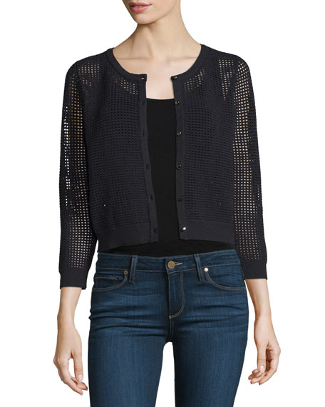 Milly 3/4-Sleeve Button-Front Mesh Cardigan, Black