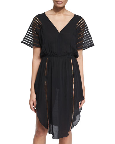 Nadja Cutout Caftan Coverup, Black