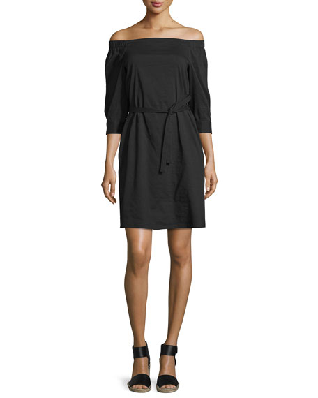 Theory Zizenna Off-the-Shoulder Crunch-Wash Dress, Black