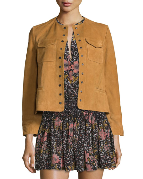 Zadig & Voltaire Boxy Suede Snap-Front Jacket, Camel