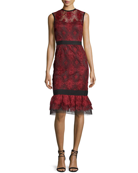 Catherine Deane Sleeveless Lace Flounce Dress, Port Red/Black