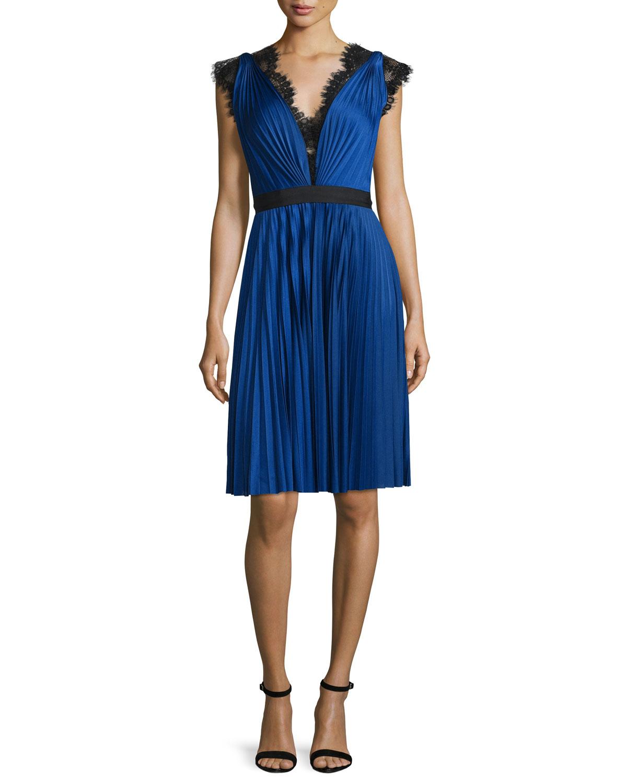 Catherine Deane Lace-Trim Pleated Jersey Dress, Cobalt | Neiman Marcus