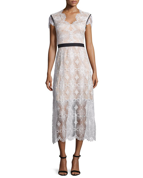 Short-Sleeve Lace Midi Dress, Oyster/Almond