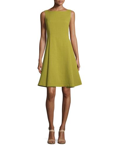 Nina Sleeveless Bateau-Neck Fit-&-Flare Dress