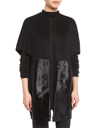 Makayla Cape-Sleeve Coat w/ Calf-Hair Panels, Black