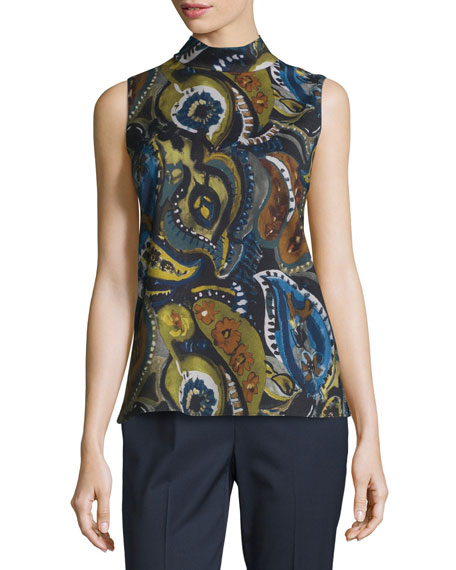 Lafayette 148 New York Fernanda Sleeveless Mock-Neck Printed