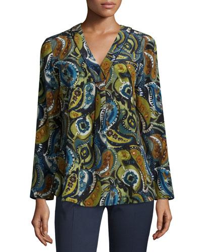 Libby Printed Silk Blouse