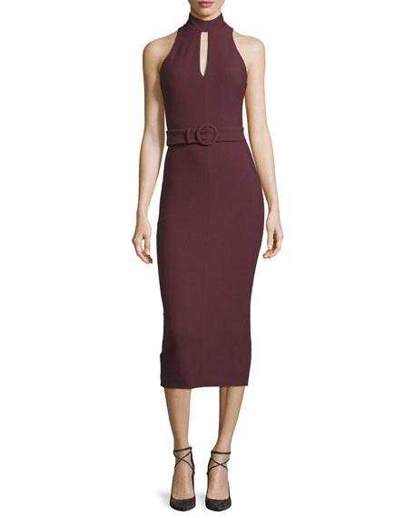 Cinq ?? SeptJuniper Mock-Neck Belted Midi Dress, Rum